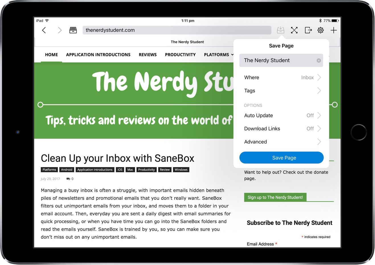Download Entire Pages on iOS with Offline Pages – The Nerdy Student