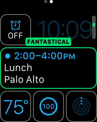 Fantastical on the Apple Watch complication
