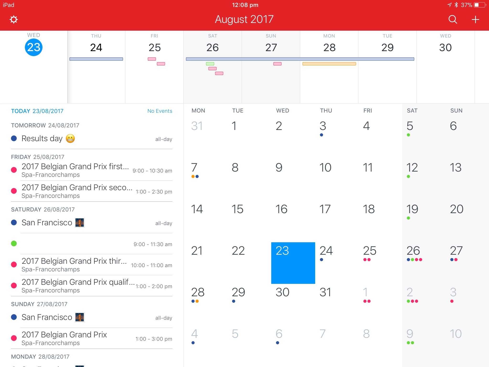 My calendars in Fantastical