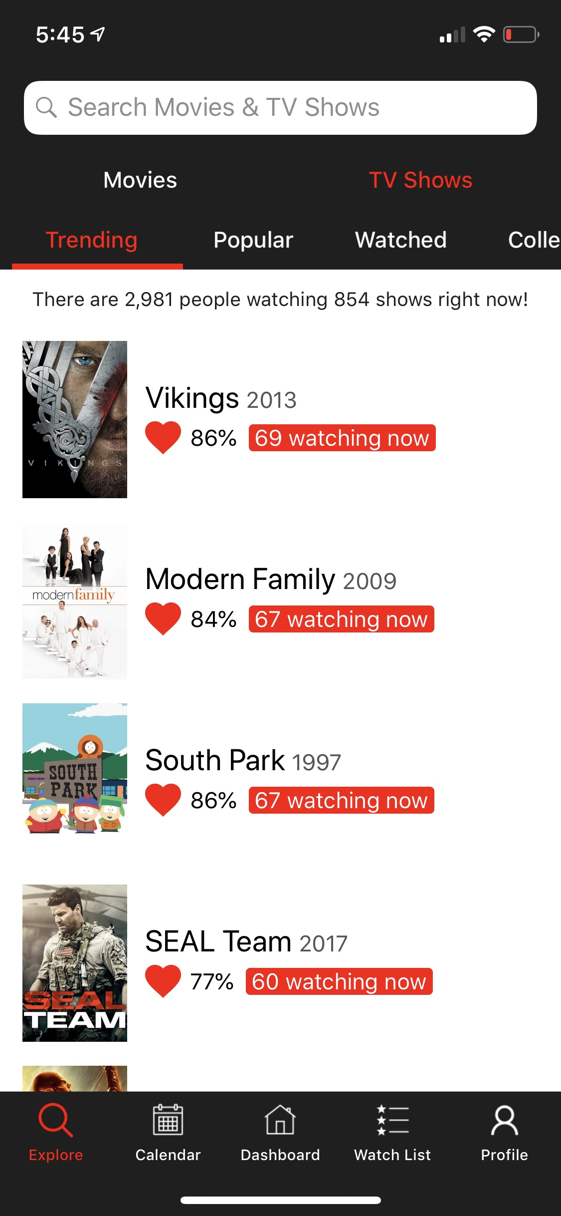 The Explore tab has six categories to sort movies and TV shows in.