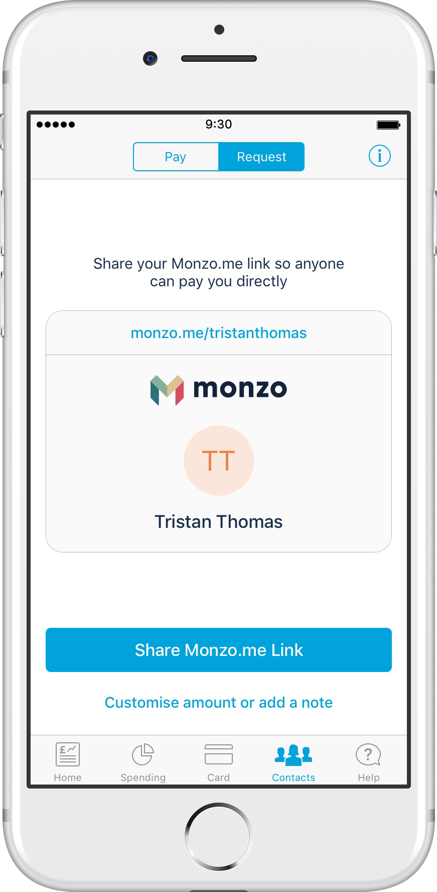 Monzo.me makes it easy to send money, and request money.